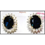 14K Yellow Gold Natural Multi Gemstone Diamond Earrings [E_112]