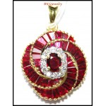 18K Yellow Gold Genuine Diamond Gemstone Ruby Pendant [P0143]