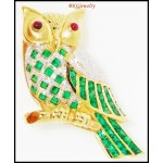 Gemstone Emerald Fish Brooch/Pin Diamond 18K Yellow Gold [I_005]